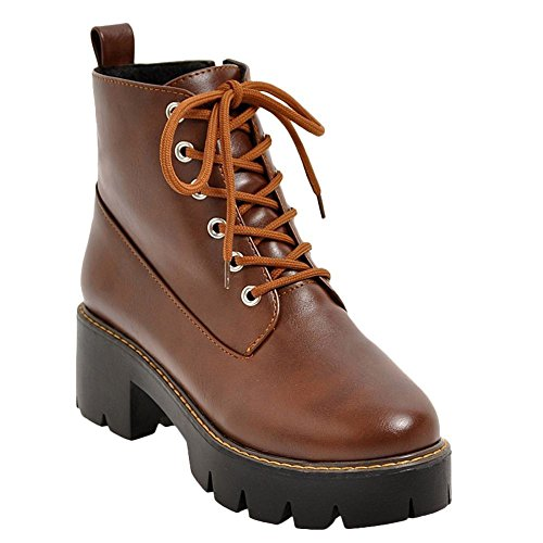 Mee Shoes Damen chunky heels Plateau Reißverschluss Stiefel Braun
