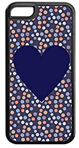 Purple Heart on Dots Pattern- Hard Black Plastic with Tough Soft Inner Rubber Lining Case- for the Apple iPhone 5c ONLY (not the standard iPhone 5, 5s)