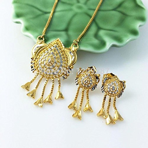 Kiss Love New Arrival Trade National Characteristic Necklace Earrings Jewelry Sets For Women 24K Mosaic Gold Jewelry A139
