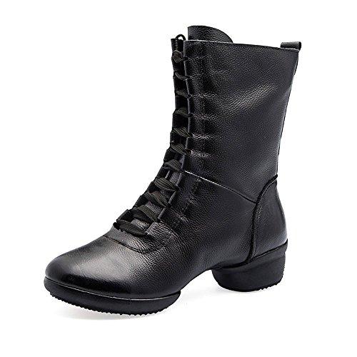 Qxw talón gruesa cabeza redonda cremallera cálida cuero damas botas cortas Black (hollow)