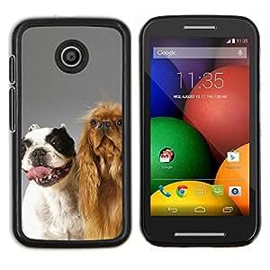 KLONGSHOP // Cubierta de piel con cierre a presión Shell trasero duro de goma Protección Caso - Los perros felices Amigos - Motorola Moto E //