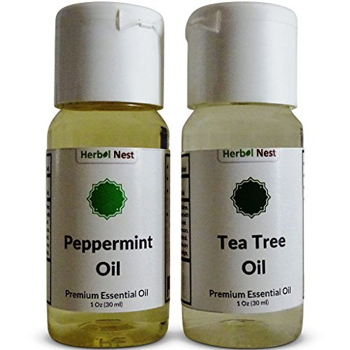 Essential Oil Set, Pure Peppermint Essential Oil & Pure Tea Tree Essential Oil, 2 Pack, 1 FL Oz (30 ml), Best Gift Set