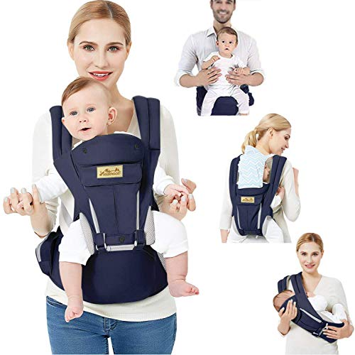 Viedouce Baby Carrier Ergonomic with Hip Seat Lightweight Breathable, Navy