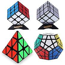 Dreampark 4 Pack Populer Magic Cube Puzzle - 3x3 Speed Cube, Pyramid Speedcubing Puzzle, Megaminx Cube and Mirror Cube Puzzle Toys
