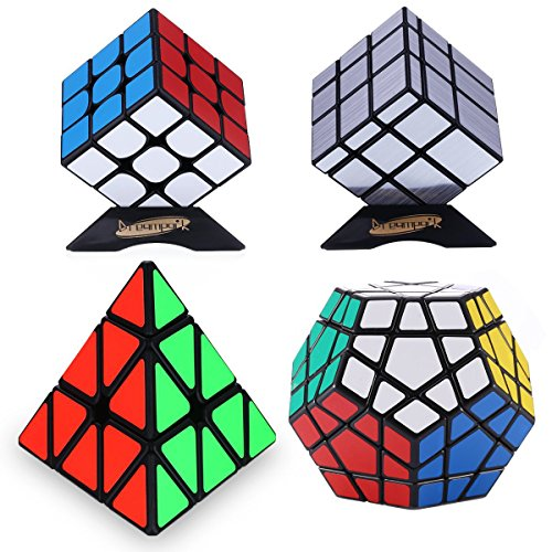 Dreampark 4-Pack Populer Magic Cube Puzzle Bundle - Includes 3x3 Speed Cube, Pyramid Speedcubing Puzzle, Megaminx Cube and Mirror Cube Set of 4
