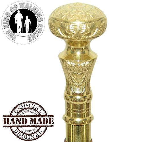 AS Artisans - 36 Inch Walking Stick in Natural Wood a Brass Handle - Elegant Walking Stick Cane Wooden Walking Cane Golden Color