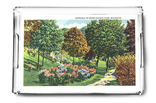 Waukegan, Illinois - Scenic Entrance View to Grand Avenue Park (Acrylic Serving Tray)