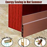 MAZU Door Bottom Seal Strip Energy & Money Saving in Hot Summer Save Air Conditioner Cost Keep Bugs&Noise Off Under Door Sweep Weather Stripping Door Draft Stopper 2'' x 39'' (Brown)