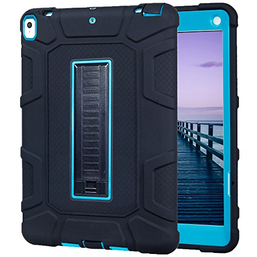 Price comparison product image iPad Pro 10.5 Case,  GreenElec Hybrid Heavy Duty Three Layer Armor Defender Full Body Protective Case with [Shockproof] [Drop Protection] [Kickstand] for iPad Pro 10.5 2017 (Black Blue)