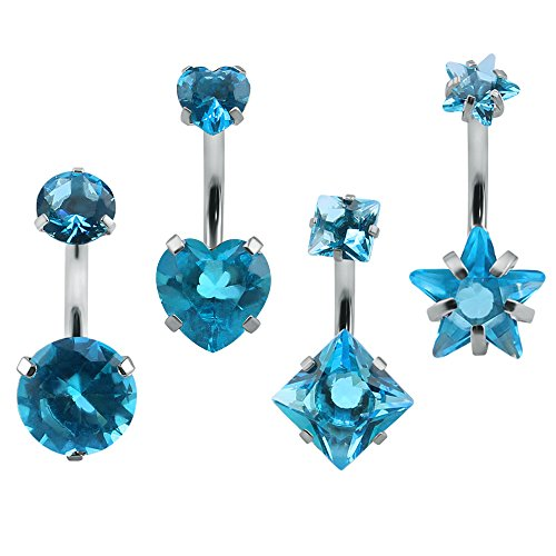 Star Navel Ring - 4Pcs Double Crystal Sexy Belly Ring Navel Piercing Jewelry 14g Surgical Steel Belly Button Rings Star Heart (Blue)