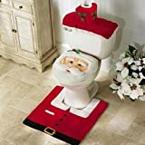EUBEST New HOT Happy Santa Toilet Seat Cover and Rug Bathroom Set for Christmas Decoration