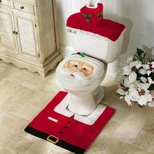 best EUBEST New HOT Happy Santa Toilet Seat Cover and Rug Bathroom Set for Christmas Decoration