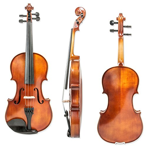 4 Full Size, Ebony Fingerboard, Pegs, Chinrest, Maple Spruce Solidwood Violin with Two Rosins, Bow and Case, ()
