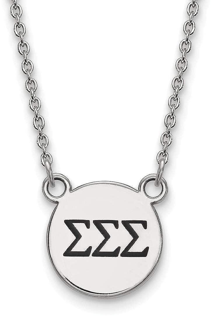 18 Sterling Silver Sigma Sigma Sigma X-Small Pendant Necklace LogoArt SS016SSS-18