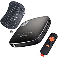 AMBM CSA96 TV Box Unlocked 4GB/32GB Dual Cortex-A72 + Quad Cortex-A53 64bits CPU Mali-T864 GPU Android 6.0 4K Internet Streaming Media Player Wireless Keyboard with Media Center Player Black