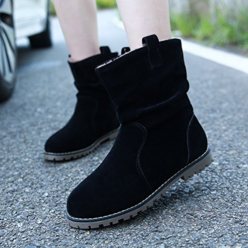 Anguang Women's Winter Warm Boots Ankle Boots Flat Heels Ankle Shoes Black (Thick Cotton) zAGI5M