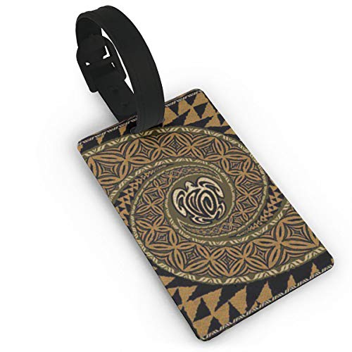 BAKBAR77 Hawaiian Tapa Honu Turtle Deluxe Fashion Printed Travel Luggage Tag, You Can See Your Luggage at A Glance, Personalized Luggage Tag,Suitcase Bag