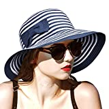 Women Sun Hats w/Bowknot Floppy Wide Brim UV Protection Foldable Roll Up Gardening Hiking Beach Cap