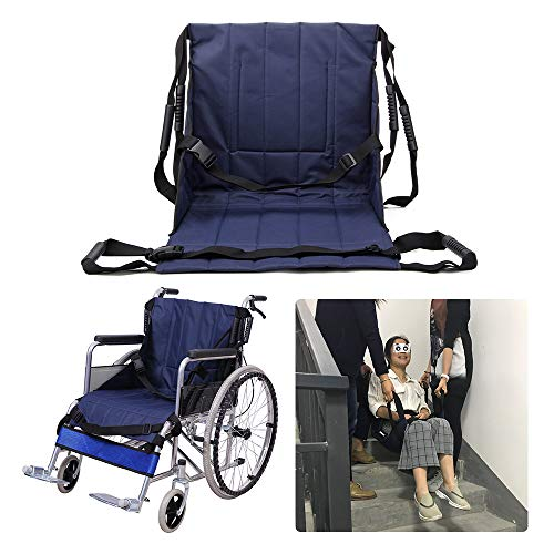 Patient Lift Stair Slide Board Transfer Emergency Evacuation Chair Wheelchair Belt Safety Full Body Medical Lifting Sling Sliding Transferring Disc Use for Seniors,Handicap (Blue - 4 Handles)