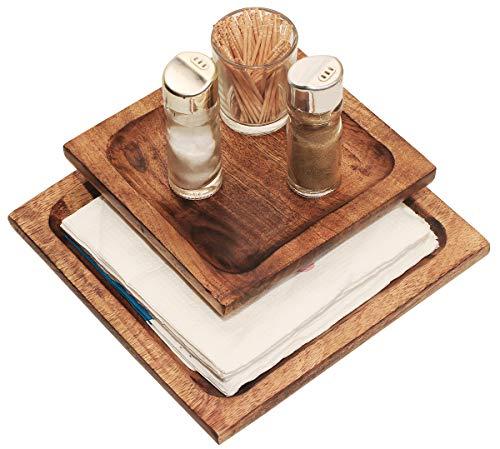 Best Buy Crafkart Wooden Plain Napkin Holder - Dinner Table Decor - Brown Wood Paper Napkin Holder for Napkin and Tissues - Perfect Dinner Table Décor