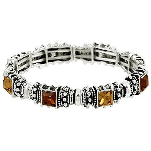 (Falari Vintage Acrylic Crystal Antique Silver Stretch Bracelet Brown & Topaz B0002-08)