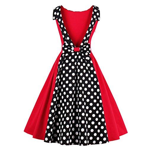 Las mujeres sexy Vestido Vintage 50s Hepburn Dress Dot Patchwork elegante vestido de verano Retro Fiesta Nocturna Casual Rockabilly Sin mangas Rojo