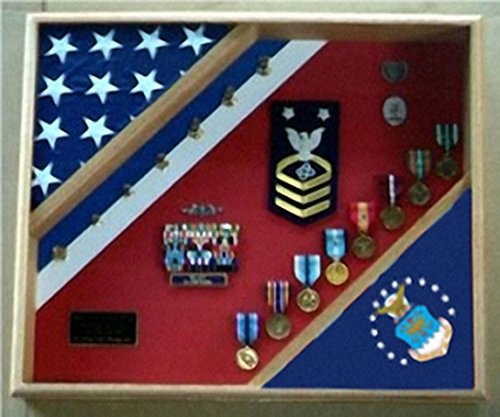 Flag-connection-Air-Force-Retirement-Gifts-USAF-Shadow-Box-designed-to-resemble-the-blue-white-and-red-stripe-of-a-Air-Force-along-with-the-boat-flag-added-showing-the-USAF-shield