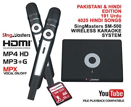 SingMasters Magic Sing Pakistani Karaoke Player,4025 Hindi,191 Urdu Pakistani Songs,Dual wireless Microphones,YouTube Compatible,HDMI,Song recording,Pakistani Urdu Karaoke Machine