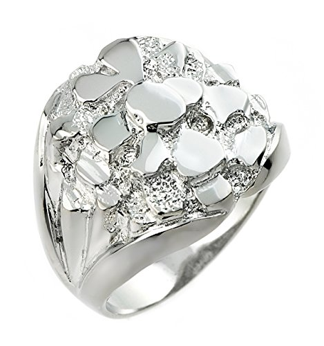 Men's 925 Sterling Silver Nugget Band Ring (Size 11)
