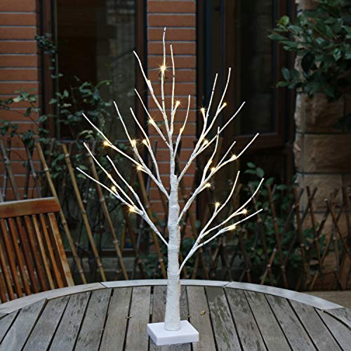 - White Birch Tree Lights,Battery Powered,24 LED Tree Table Lamp,3 Mode,Timer,Bedside Night Light Desk Lamp for Bookshelf Nightstand Home Wedding Window Party Dinner Table Decor (Height 1.5ft) (A)