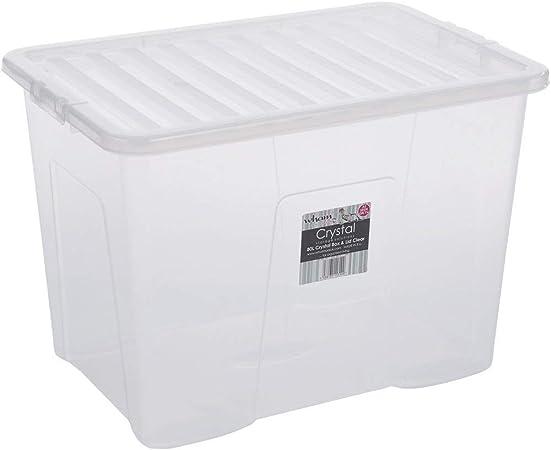 Caja con tapa, translúcido, 80 L, el contacto con los alimentos, apilable, 60 x 40 cm | | Caja Box pila multifunción caja caja de plástico juguetes XXL: Amazon.es: Hogar