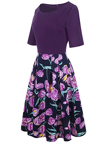 oxiuly Women's Vintage Patchwork Pockets Puffy Swing Casual Party Dress OX165 (M, Purple)