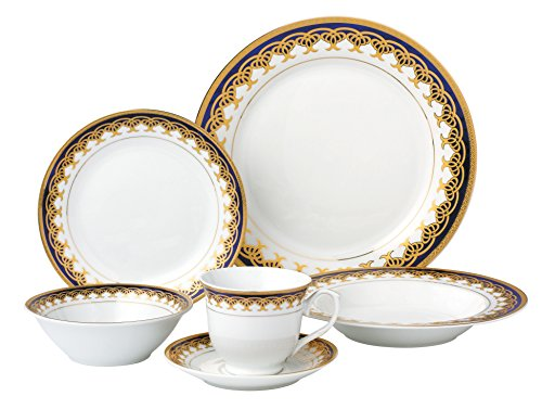 Lorren Home Trends 24 Piece Porcelain Dinnerware Set Iris, Blue