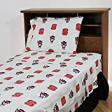 College Covers North Carolina State Wolfpack Printed Sheet Set, Twin, White