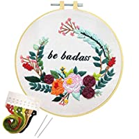 Nuberlic Embroidery Kit Cross Stitch for Adults Beginners Printed Embroidery Starters Kits with Pattern for Kids Crafts Embroidery Hoops Floss Thread Needles