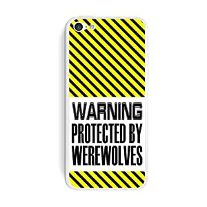 Graphics and More Warning Protected By Werewolves Protective Skin Sticker Case for Apple iPhone 5C - Set of 2 - Non-Retail Packaging - Opaque