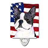 Caroline's Treasures USA American Flag with Boston Terrier Night Light, 6'' x 4'', Multicolor