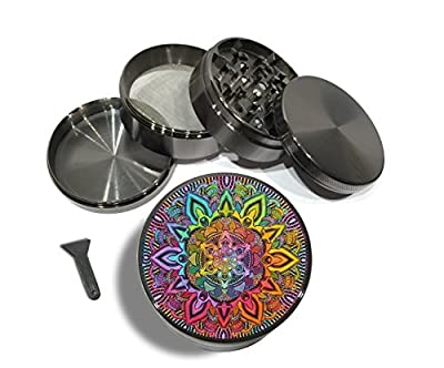"Rainbow Mandala 4 Piece Large Silver or Zinc Metal Herb Grinder 2.5"" Mandalas Peace Spiritual Yoga Mod Cut Titanium teeth"