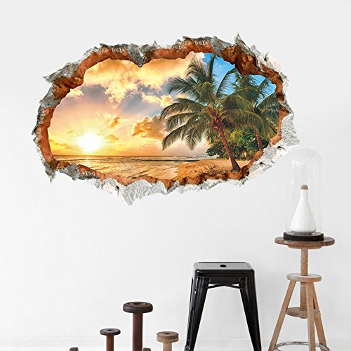 Ducklingup 3D Broken Wall Hole Bricks Coconut Palm Tree Golden Sunset Wall Art Mural Posters Wall Stickers (A)