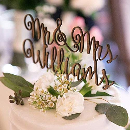Personalized Wedding cake topper Mr and Mrs Cake Topper for wedding-Rustic wood