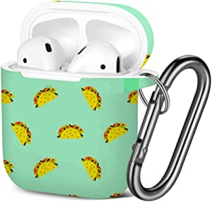[ Compatible with AirPods 2 and 1 ] Shockproof Soft TPU Gel Case Cover with Keychain Carabiner for Apple AirPods (Taco Mexican Food Blue)
