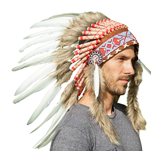 [Feather Headdress- Native American Indian Inspired- Handmade by Artisan Halloween Costume for Men Women with Real Feathers - White] (Indian Headress)