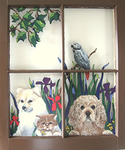 Spaniel Pomeranian Cocker - Cocker Spaniel, Pomeranian Dog, Cat, African Grey, Recycled Window, Original Art, Hand Painted Pet Loss Memorial, Garden Scene