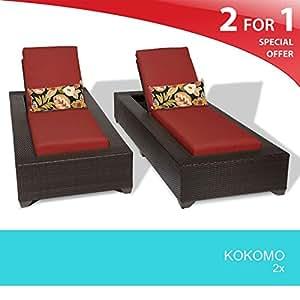 Kokomo Chaise Set of 2 - Outdoor Wicker Patio Furniture - Terracotta