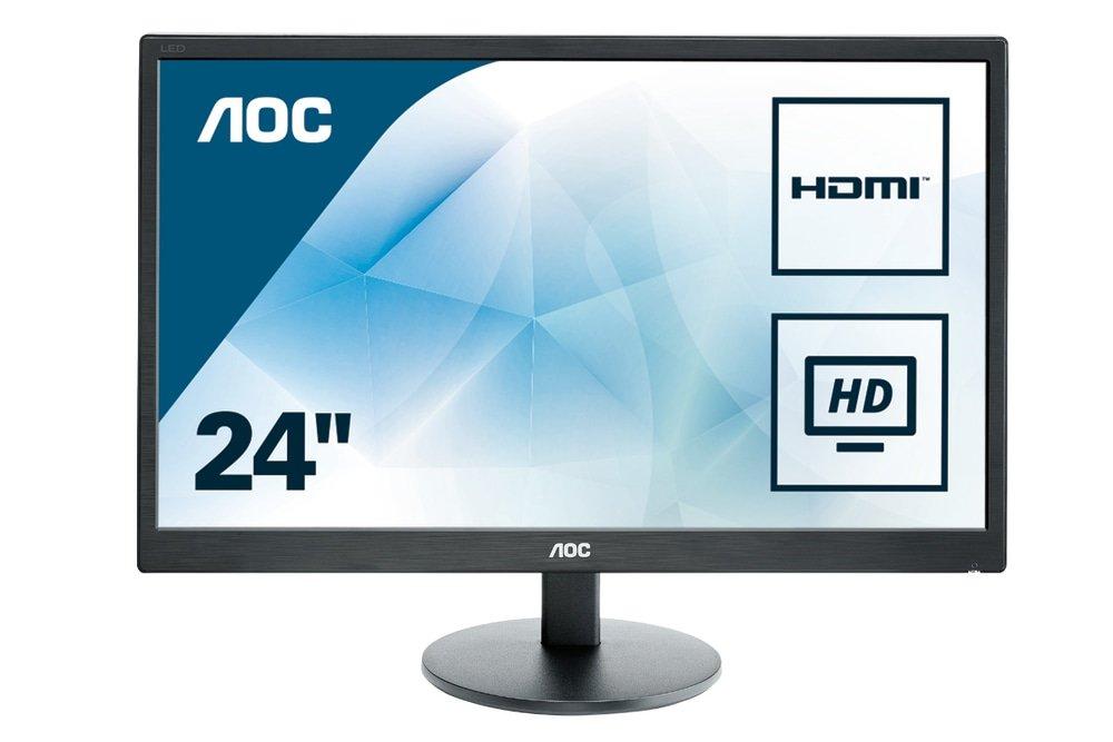 AOC E2470SWHE 24'' Full HD 1920x1080 Monitor, TN, 5ms, HDMI (x2), VGA, VESA, EPEAT Silver