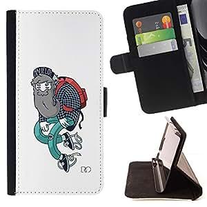 Momo Phone Case / Flip Funda de Cuero Case Cover - Hipster del estilo del arte Outfit Barba Arte Pintura - Apple Iphone 5 / 5S