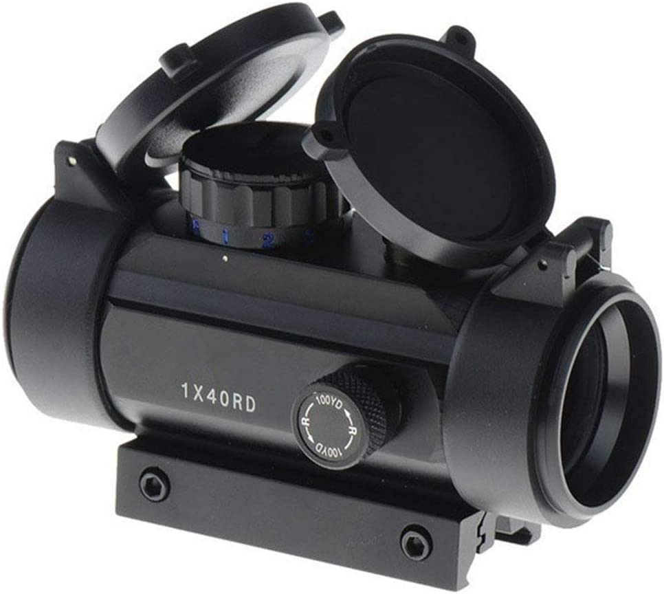 YODZ Alcance de la Lupa Punto de mira Verde Rojo Punto de mira a la Vista 1XRD40 Óptica holográfica para riel de 11 mm / 20 mm con Tapa abatible Cubierta de Lente para Pistola Airsoft