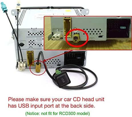 AUX Switch InPut Connector Cable Plug for VW Car Radio RCD510 RCD310 RCD300 RNS315// NAV231// 268 MF Adapter-Universe/® USB Adapter