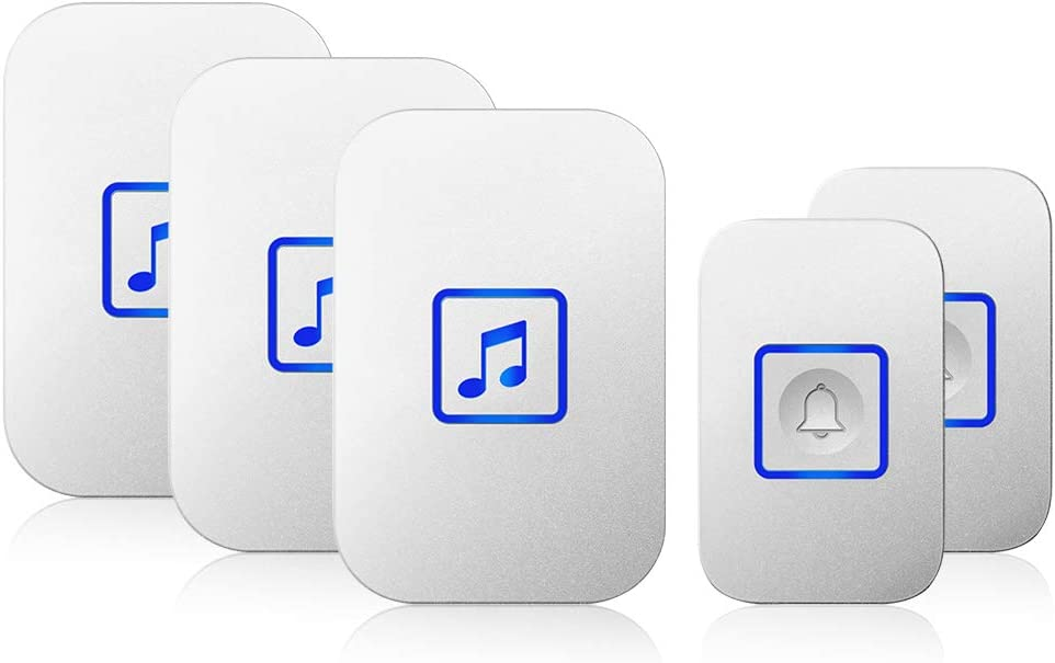 Wireless Doorbell, Door Bell Chime Kit with 60 Melodies, 4 Levels of Volumes and LED Flash, Easy Setup for Home and Office(3 Receivers + 2 Buttons, White)
