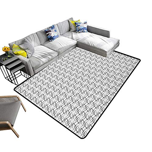 """Geometric Indoor Floor mat Minimalist Pattern with Intersecting Squares Grayscale Lattice Mosaic 78""""x94"""",Can be Used for Floor Decoration"""